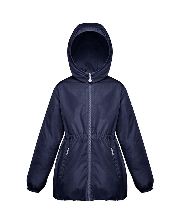 Moncler Kids' Girl's Technique Hooded Jacket In Blue