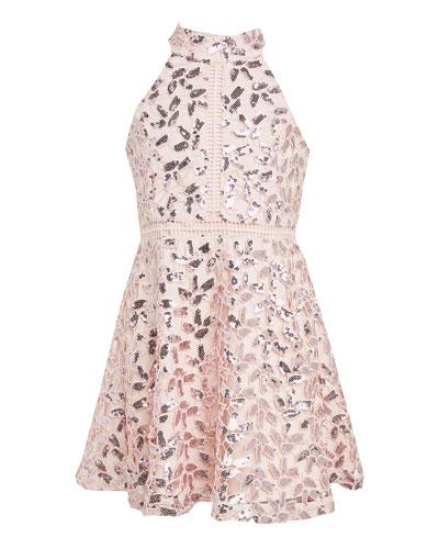 Girl's Gemma Sequin Lace Halter Dress, Size 7-16