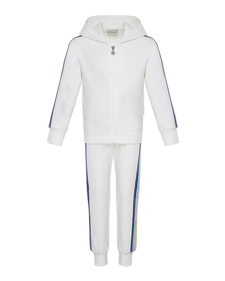 Moncler Girl's Logo Tape Hooded Zip-Front Track Jacket w/ Matching Joggers, Size 4-6