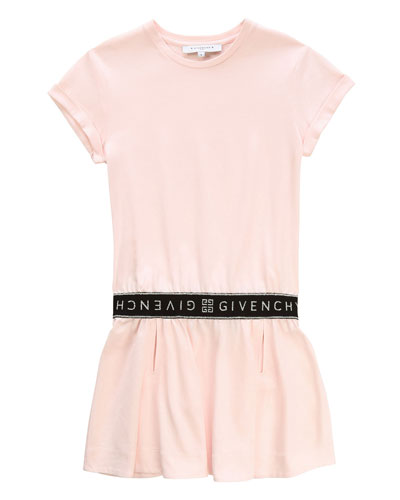 Short-Sleeve Dress with Logo Details, Size 12-14
