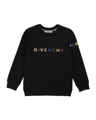 Boy's Multicolor Logo Text Sweatshirt, Size 6-10