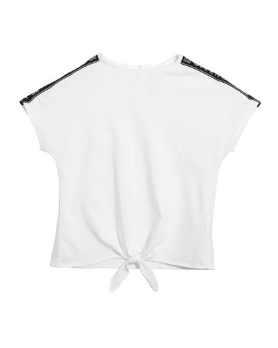 Girl's Logo Shoulder Tie-Front Tee, Size 2-3