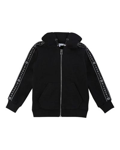 Girl's Zip-Front Logo Trim Hooded Sweatshirt, Size 6-10