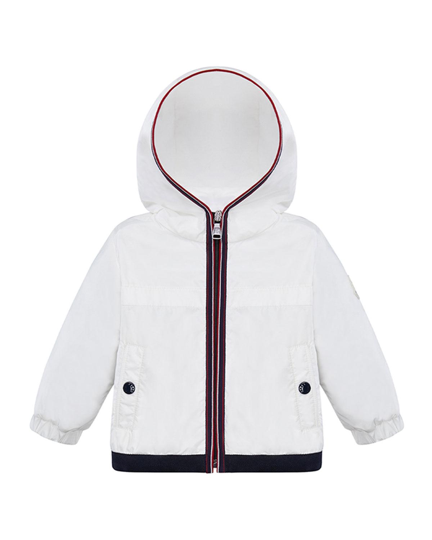 Moncler Kids' Anton Tricolor Trim Rain Jacket In White