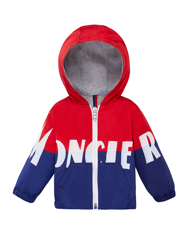 Moncler Kids' Kruth Two-tone Logo Hooded Jacket In 红色