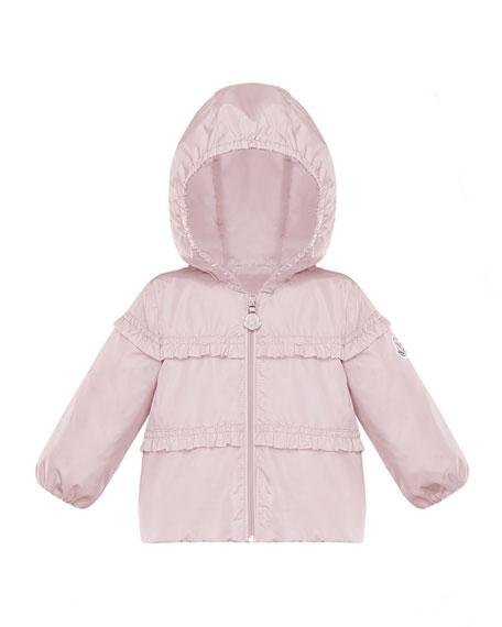 Moncler Hiti Ruffle Trim Hooded Jacket, Size 12M-3
