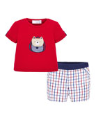 Mayoral Boy's Backpack Bear T-Shirt w/ Grid Shorts,