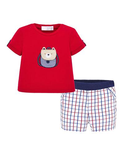 Boy's Backpack Bear T-Shirt w/ Grid Shorts, Size 4-18 Months