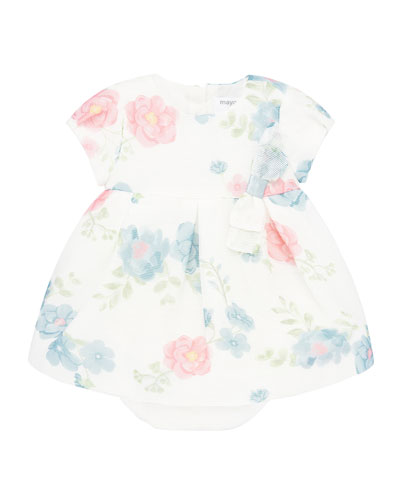 Girl's Floral Print Short-Sleeve Dress w/ Bloomers, Size 4-18 Months