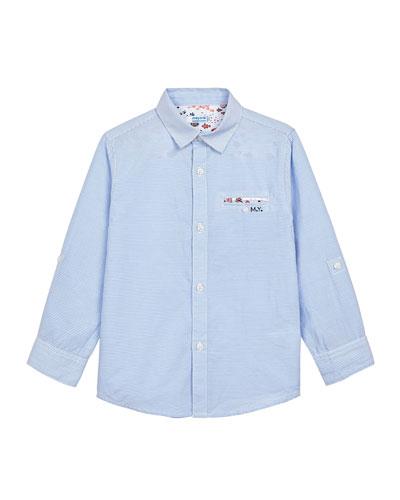 Boy's Striped Button-Down Contrast-Trim Shirt, Size 4-7