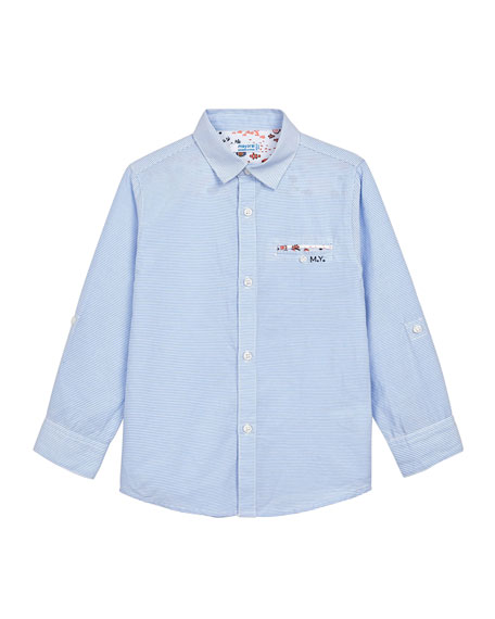 Mayoral Boy's Striped Button-Down Contrast-Trim Shirt, Size 4-7