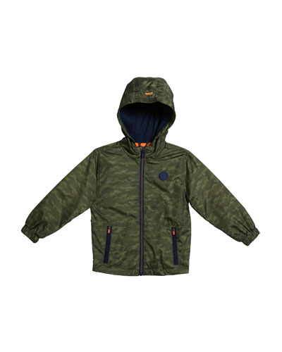 Boy's Camouflage Wind-Resistant Hooded Jacket, Size 4-7