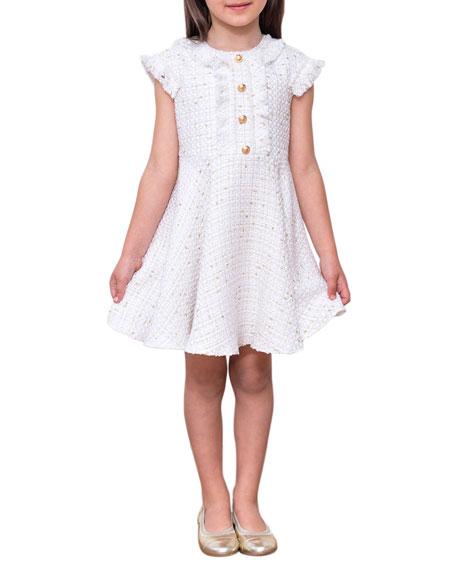 David Charles Girl's Ruffle Cap-Sleeve Tweed Dress, Size 4-8