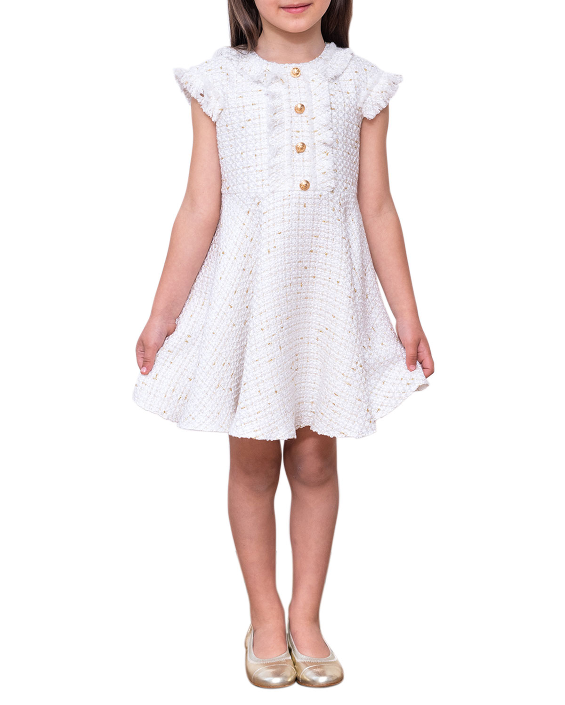 David Charles Dresses GIRL'S RUFFLE CAP-SLEEVE TWEED DRESS
