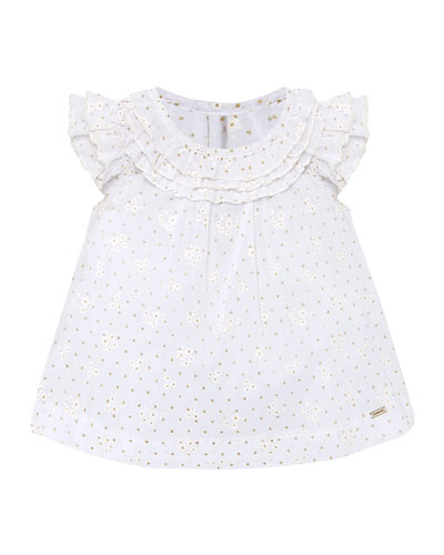 Girl's Floral Print Voile Ruffled Blouse, Size 6-36 Months