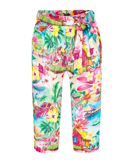 Mayoral Girl's Tropical Print Pants, Size 4-7