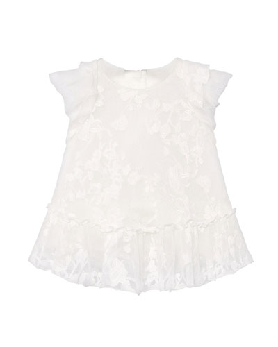 Girl's Tonal Embroidered Tulle Dress, Size 6-36 Months