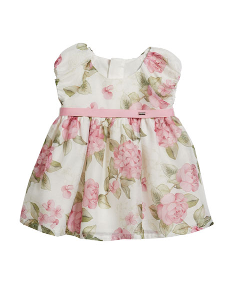 Mayoral Girl's Rose Print Cap-Sleeve Dress, Size 6-36 Months