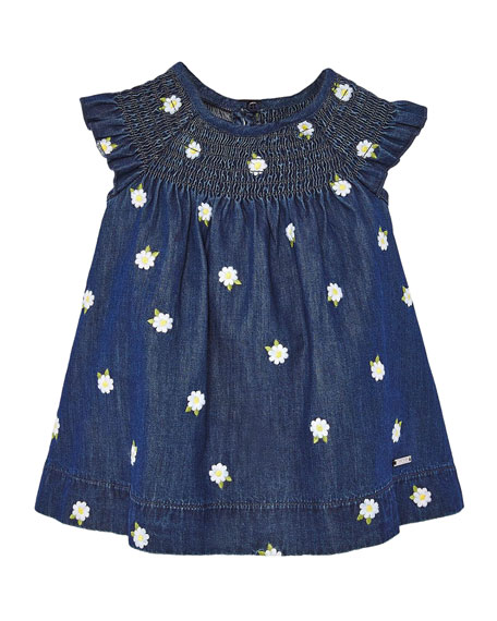 Mayoral Girl's Denim Dress with Embroidered Daisies, Size 6-36 Months