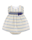 Mayoral Girl's Smock Inset Stripe Dress w/ Matching