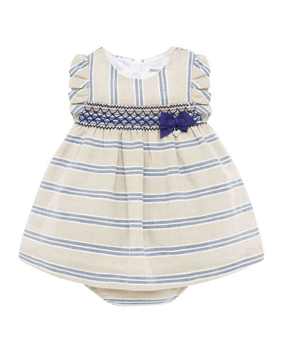 Girl's Smock Inset Stripe Dress w/ Matching Bloomers, Size 4-18 Months