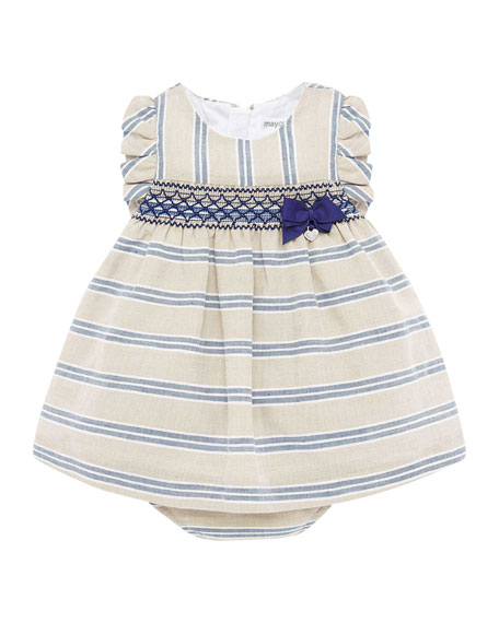 Mayoral Girl's Smock Inset Stripe Dress w/ Matching Bloomers, Size 4-18 Months
