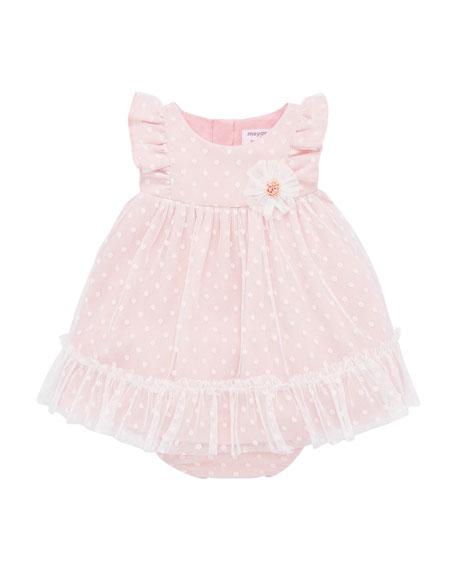 Mayoral Girl's Dotted Tulle Plumeti Dress w/ Bloomers, Size 4-18 Months
