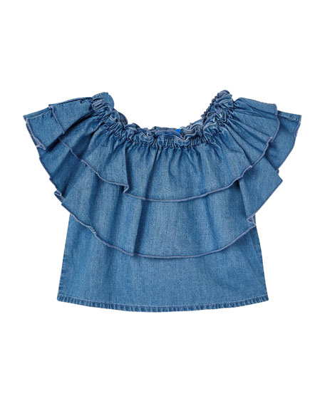 Mayoral Girl's Denim Shirt with Tiered Ruffles, Size 4-7