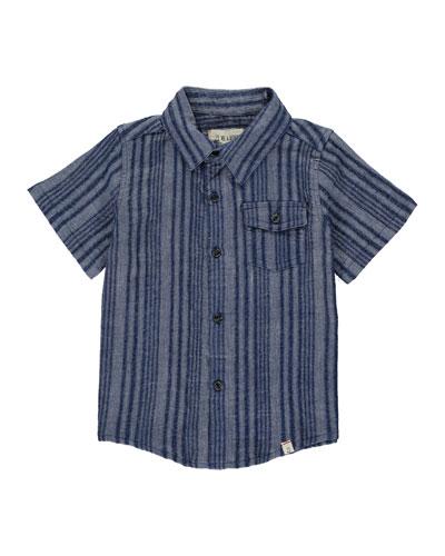 Boy's Striped Woven Shirt w/ Children's Book, Size 3T-10