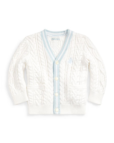 Cable Knit V-Neck Cardigan, Size 6-24 Months