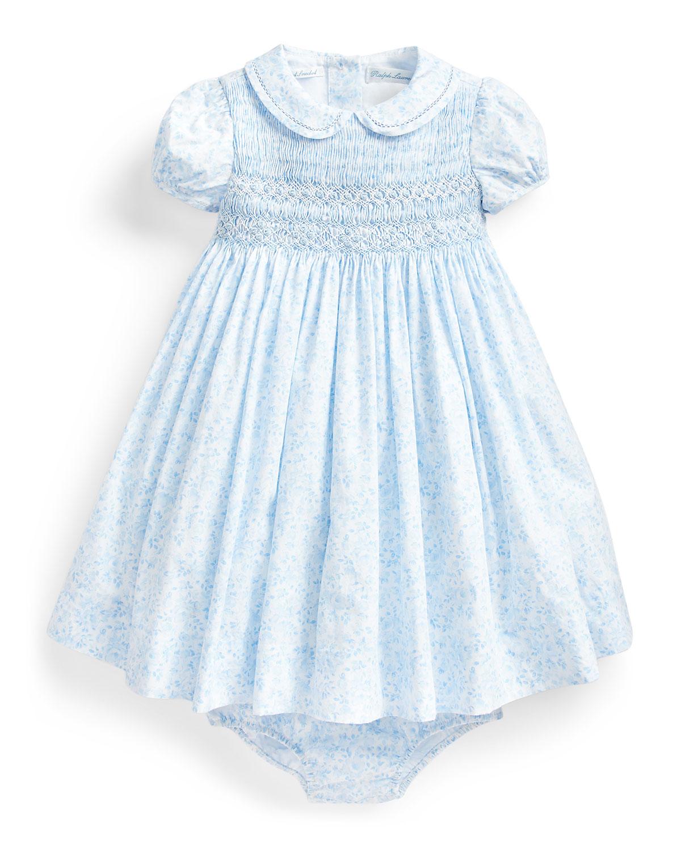 Ralph Lauren Childrenswear Dresses FLORAL PRINT SMOCKED DRESS W/ MATCHING BLOOMERS