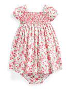 Ralph Lauren Childrenswear Floral Printed Poplin Smocked Dress