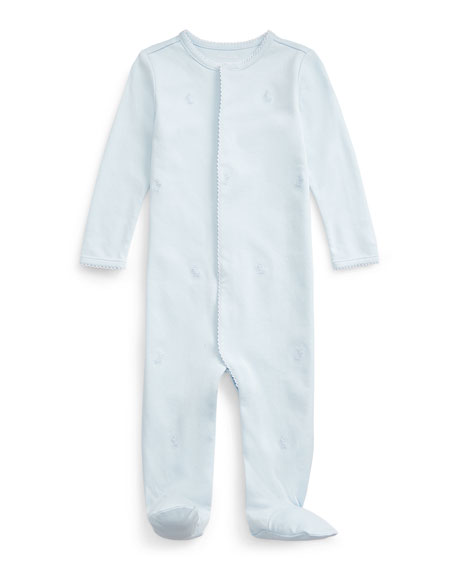 Ralph Lauren Childrenswear Interlock Bunny Embroidered Footed Coverall, Size 3-9 Months
