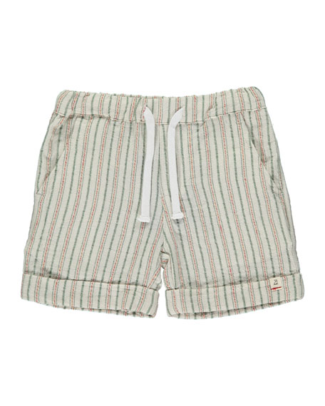 Me & Henry Boy's Textured Stripe Shorts w/ Children's Book, Size 3T-7