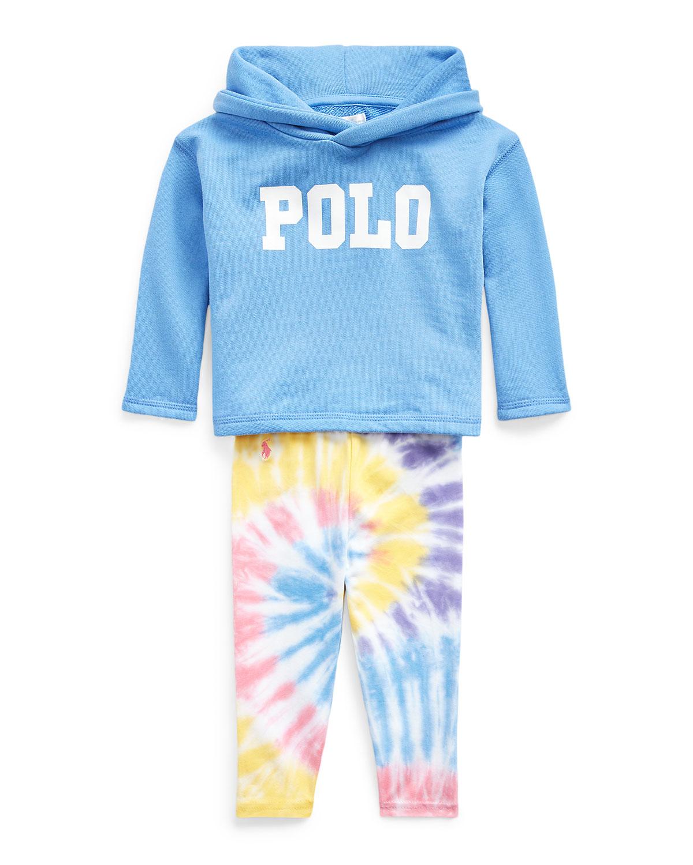 Ralph Lauren Childrenswear Pants GIRL'S LOGO HOODIE W/ TIE DYE LEGGINGS