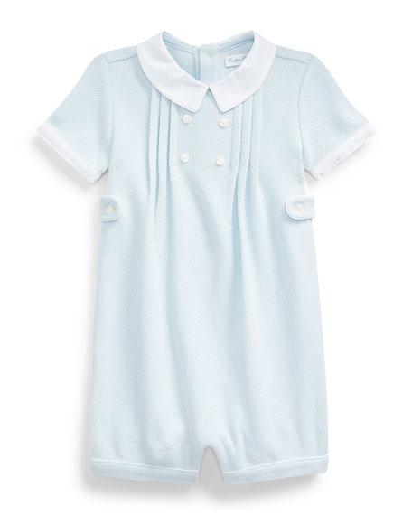 Ralph Lauren Childrenswear Textured Knit Pique Shortall, Size 3-18 Months