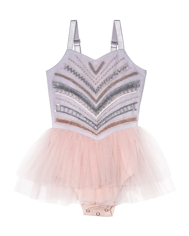 Girl's Chrysallis Sequin Tulle Bodysuit, Size 6-24 Months