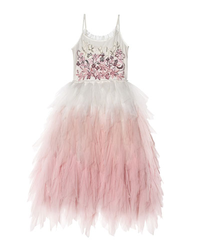 Girl's Wild Rose Long Ombre Tulle Dress, Size 2-11