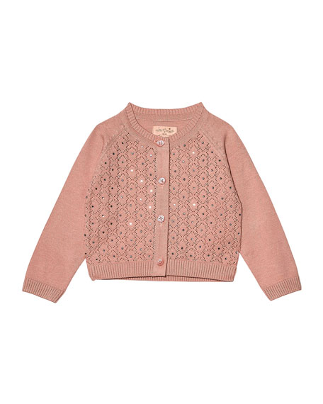 Tutu Du Monde Girl's Crystal Clear Knit Cardigan, Size 6-24 Months