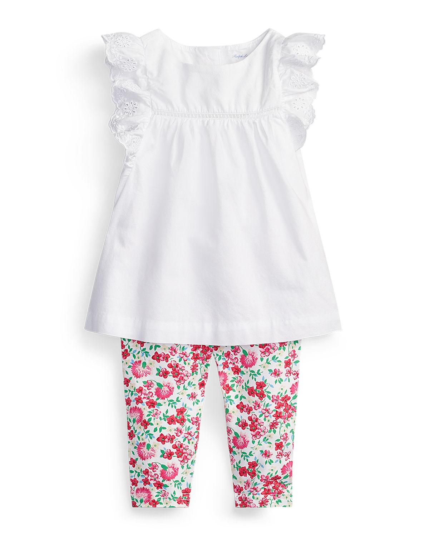 Ralph Lauren Childrenswear Pants BATISTE EYELET TOP W/ FLORAL LEGGINGS