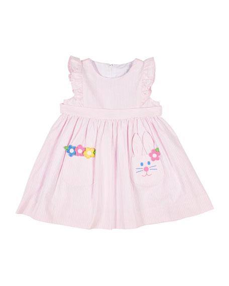 Florence Eiseman Girl's Seersucker Dress w/ Flowers & Bunny Pocket, Size 4T-4