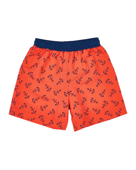 Florence Eiseman Boy's Anchor Print Swim Trunks, Size 4T-4