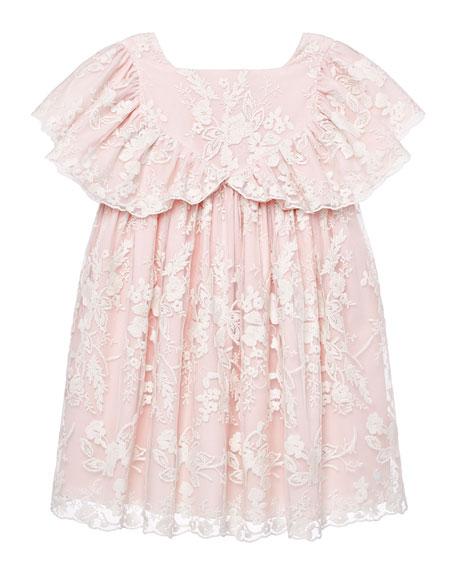 Pili Carrera Girl's Lace Ruffle Sleeve Dress, Size 3-10