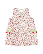 Florence Eiseman Girl's Cherry Print Sleeveless Pique Dress,