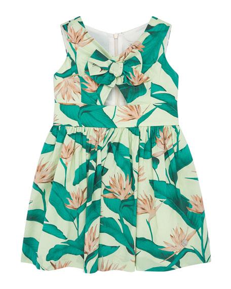 Pili Carrera Girl's Tropical Bird of Paradise Floral Print Dress, Size 4-10