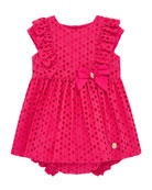 Pili Carrera Girl's Eyelet Ruffle Trim Dress w/