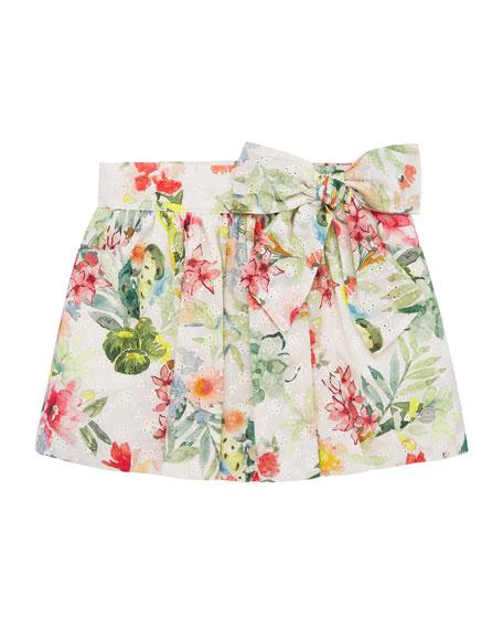 Pili Carrera Girl's Floral Print Mini Eyelet Skirt, Size 4-10