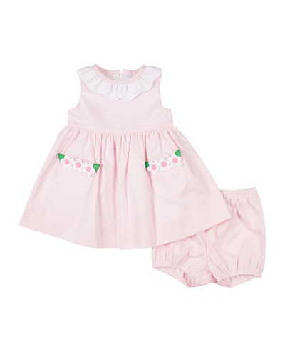 Baby-Girls Ruffle Tiered Ivory//Coral Dress 3-24 Months
