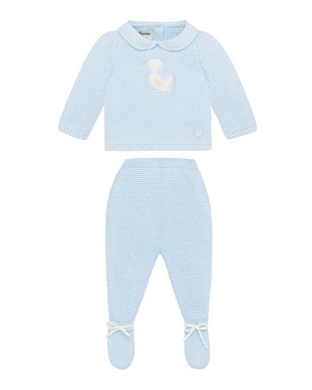 Pili Carrera Knit Duck Sweater w/ Matching Footed Pants, Size 1-6 Months