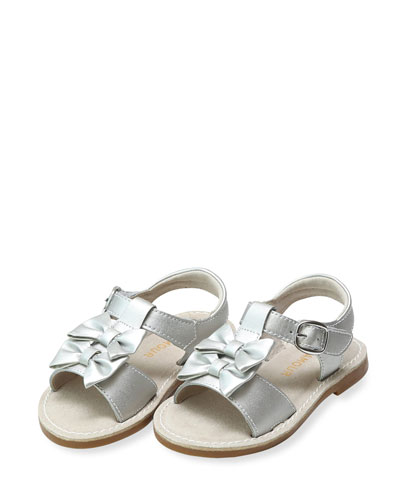 Serena Double Bow Leather Sandals, Baby/Toddler/Kids
